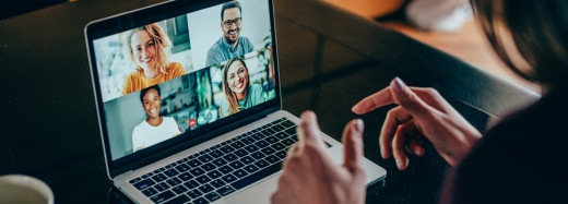 Online video conference on screen